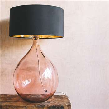 Extra Large Pink Round Glass Lamp (H58 x W36 x D36cm)