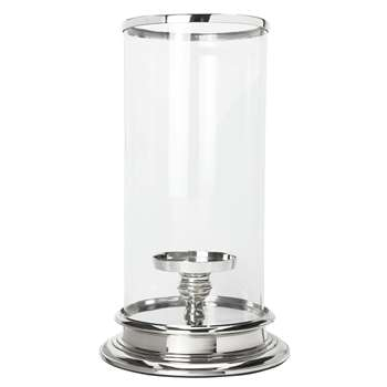 Extra Large Silver Cylinder Hurricane Lamp (35 x 22cm)
