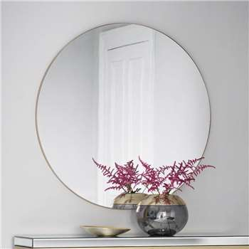 Extra Large Slim Round Mirror Champagne (H100 x W100 x D2cm)