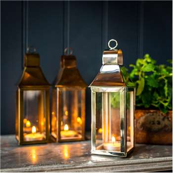 Extra Small Tonto Lantern in Stainless Steel with Nickel Plate 38 x 10.5cm