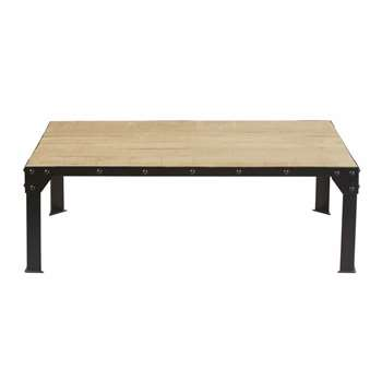 FACTORY - Black Metal and Solid Mango Wood Coffee Table (H40 x W120 x D70cm)