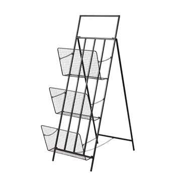 FACTORY Black Metal Industrial-Style Foldable Magazine Rack (111 x 35cm)