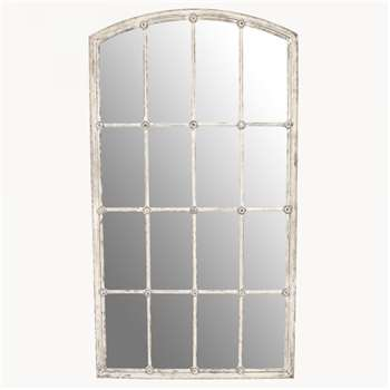 Fairfield Distressed White Iron Mirror (H137 x W75 x D3cm)