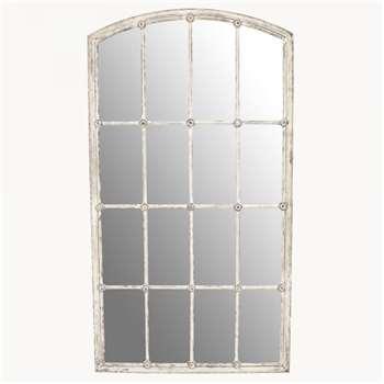 Fairfield Distressed White Iron Mirror (H137 x W75 x D3cm)