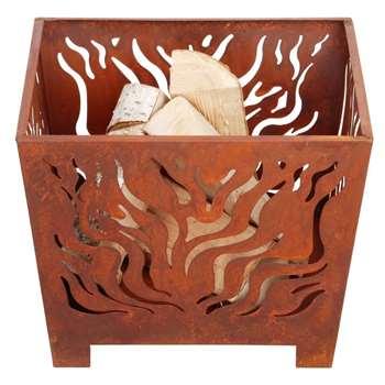 Fallen Fruits Small Square Fire Basket - Rust, FF161 (H30 x W39 x D39cm)