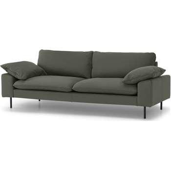 Fallyn 3 Seater Sofa, Nubuck Loden Leather (H82 x W216 x D94cm)