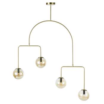 FAMOUS - Mobile Golden Metal Pendant Light with 4 Amber Glass Globes (H129 x W88 x D44cm)