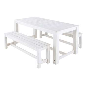 FARO Wooden garden table + 2 benches in white (77 x 180cm)