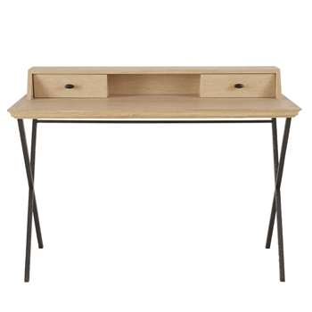 FAUBOURG 2-Drawer Writing Desk with Hammered Black Metal Legs (H88 x W120 x D53cm)