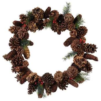 Faux Cone and Berry Wreath - Multi (Diameter 60cm)