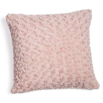 Faux fur cushion in pink 45 x 45cm