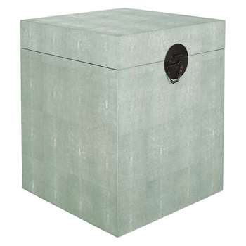 Faux Shagreen Bedside Trunk - Pale Celadon (H60 x W50 x D50cm)