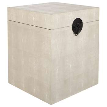 Faux Shagreen Bedside Trunk - Taupe (H60 x W50 x D50cm)