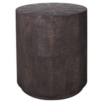 Faux Shagreen Drum Table - Mole Brown (45 x 40cm)