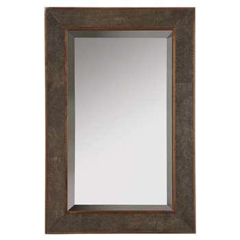 Faux Shagreen Freestanding Dressing Mirror - Mole Brown (60 x 40cm)