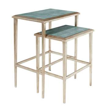 Faux Shagreen Nested Side Tables, Set of Two - Jade (60 x 50cm)