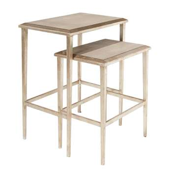 Faux Shagreen Nested Side Tables, Set of Two - Taupe (60 x 50cm)