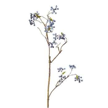 Faux Wild Berry Stem - Blue (Height 85cm)
