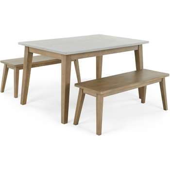 Fawn Dining Table and Bench Set, Zinc and Mango wood (H76 x W140 x D90cm)