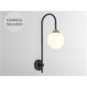 Faye Wall Light Single, Black, Antique Brass (H42 x W12 x D22cm)