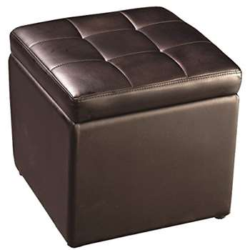 FDS Faux Leather Ottoman Pouffe Storage Foot Stool (Brown)