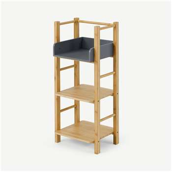 Felicia Bamboo 3 Tier Storage Unit, Natural & Charcoal (H93 x W38 x D33cm)