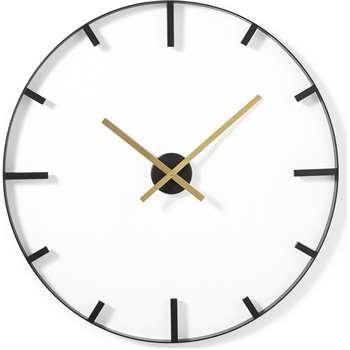 Felman Statement Oversized Floating Clock, Matt Black & Brass (H80 x W80 x D4cm)