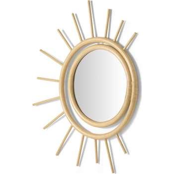 Fergie Rattan Decorative Mirror, Natural (H75 x W64 x D3cm)