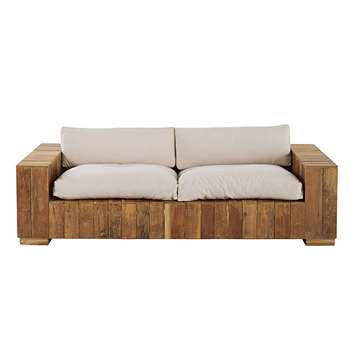 FERIA 2/3-seater garden bench in teak with ecru cushions (81 x 222cm)