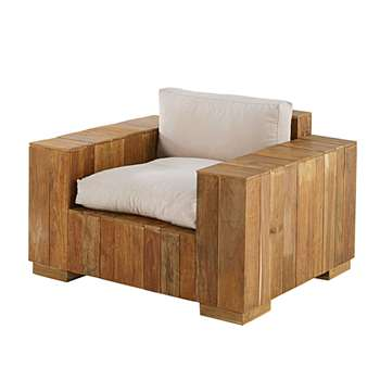 FERIA Garden armchair in recycled teak with sand-coloured cushions (81 x 108cm)