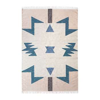 Ferm Living - Kelim Blue Triangles Rug - Large (200 x 140cm)