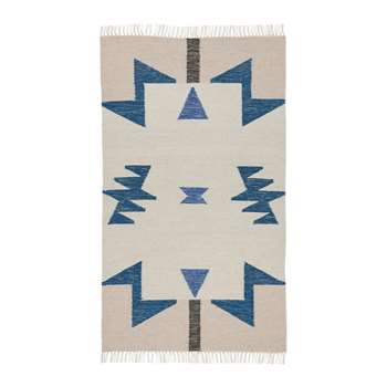 Ferm Living - Kelim Blue Triangles Rug - Small (80 x 140cm)