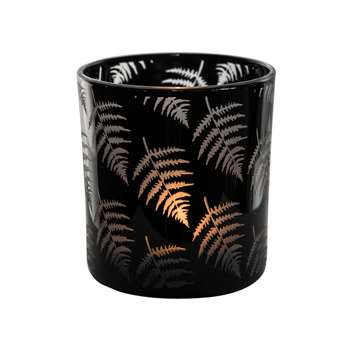 Fern Black Glass Votive 8 x 7.5cm