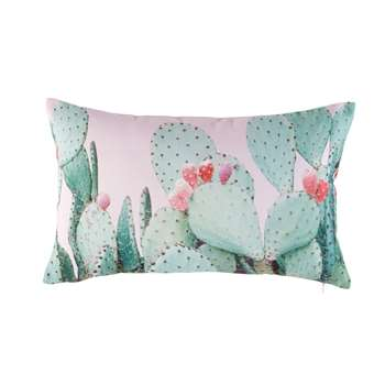 FEROCA Pink Outdoor Cushion with Cactus Print (30 x 50cm)