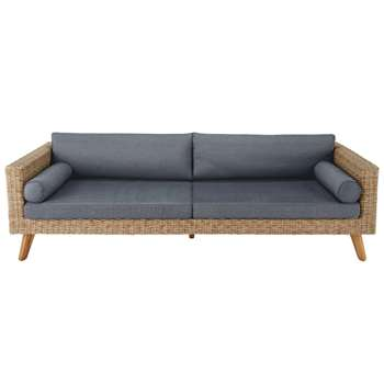 FEROE 3/4 seater wicker and canvas garden sofa in charcoal grey (H65 x W229 x D82cm)