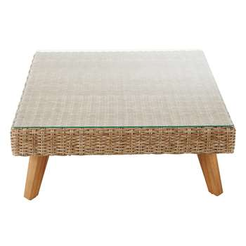 FEROE Wicker and tempered glass garden coffee table (Width 80cm)