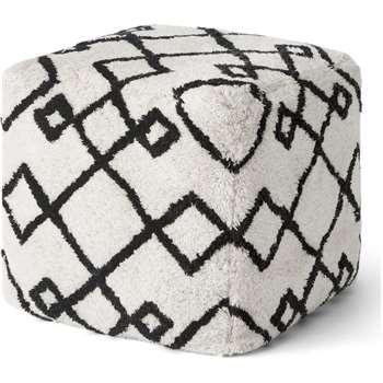 Fes Pouffe, Off White & Black (H45 x W45 x D45cm)