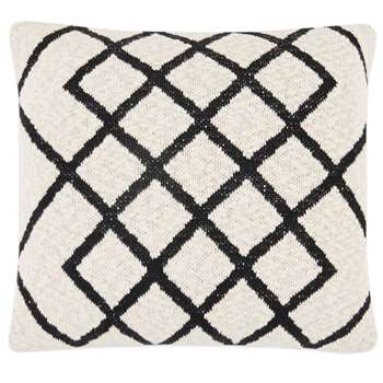 Fes Textured Cotton Cushion, Off White & Black (H45 x W45cm)