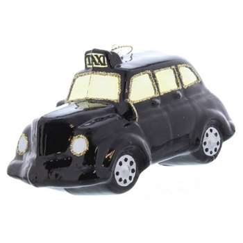 Festive - Black Glass London Taxi Christmas Tree Decoration (Width 12cm)