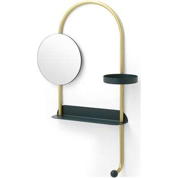 Fibar Valet Mirror with Shelf, Dark Green (H95 x W54 x D8cm)