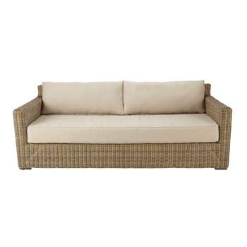 FIDJI 3/4 seater wicker and fabric garden sofa in beige (80 x 220cm)