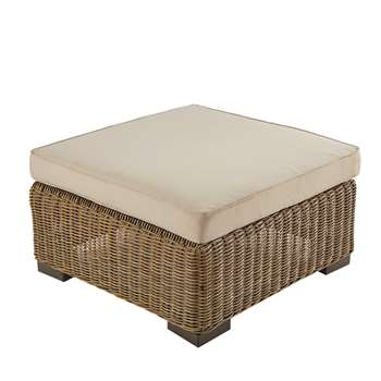 FIDJI Wicker and beige fabric garden pouffe (34 x 77cm)