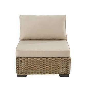 FIDJI Wicker and fabric armless garden sofa in beige (67 x 77cm)