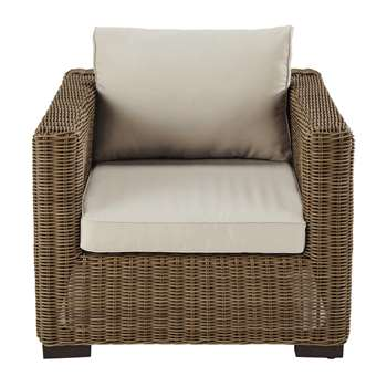 FIDJI Wicker and sand fabric garden armchair (69 x 86cm)