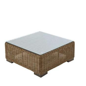 FIDJI Wicker and tempered glass garden coffee table (32 x 77cm)