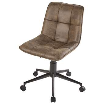 FINLEY - Brown Quilted Wheeled Office Chair (H77.5 x W52 x D60.5cm)