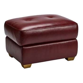 Finley Burgundy Leather Storage Footstool (H48 x W71 x D55cm)