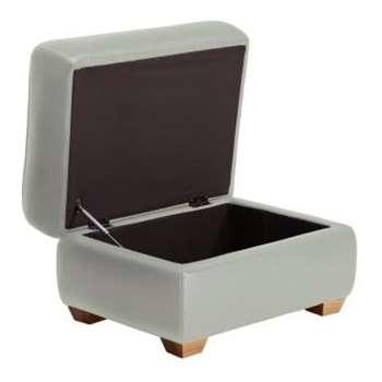 Finley Grey Leather Storage Footstool (H48 x W67 x D55cm)