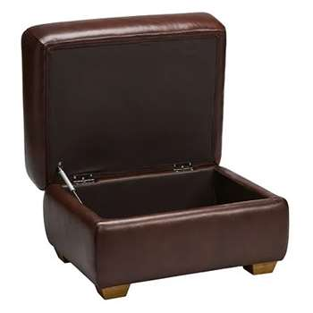 Finley Two Tone Brown Leather Storage Footstool (H48 x W71 x D55cm)