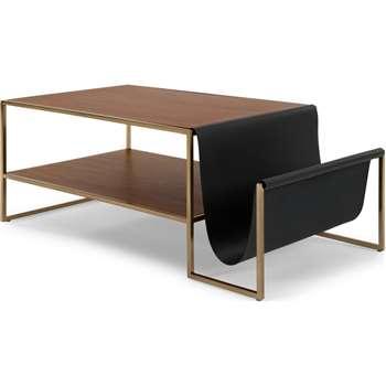 Finn Coffee Table, Leather and Walnut, Brass, Black, Dark Wood (37 x 100cm)